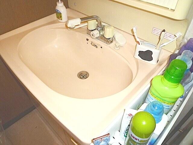 千葉市花見川区 花園町 一戸建て住宅 洗面台洗浄後の様子