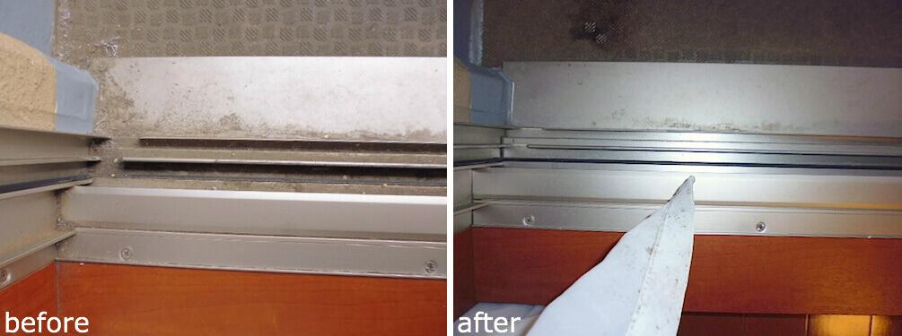 アパガーデンパレス成田 浴室ドア周り 洗浄前後の様子